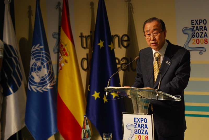 acrylic lectern and Mr. Ban Ki Moon